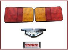 LED Trailer Tail Light Kit, 2 x Rectangular (80x150mm) + 1 x Licence Plate Light
