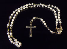 New white plastic pearl christian rosary beads 4mm