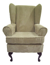FIRESIDE / WING BACK  / QUEEN ANNE CHAIR MINK JUMBO CORD FABRIC
