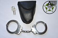 Handschelle mit Kette US Police Army Handcuffs Hand Fessel inkl. Tasche Holster