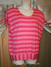 Cha Cha Vente Womens Plus Shirt Blouse Top Hot Pink Stripe Casual Cruise NWT 1X