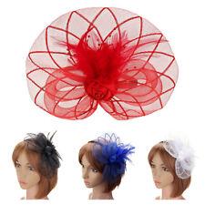Flower Feather Fascinator Headband Hat Wedding Prom Ladies P7G9