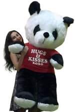 American Made Giant Stuffed Panda Soft Huge 54 Inches Wears HUGS AND KISSES XOXO