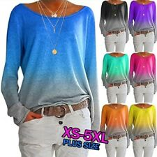 Womens Casual Long Sleeve T Shirt Wide Collar Tops Loose Blouse Gradient Tunic