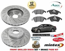 FOR MERCEDES E CLASS E350 SPORT 2009-> FRONT DRILLED BRAKE DISCS SET + PADS KIT