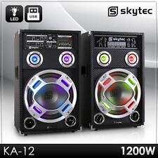 "AKTIV PARTY KARAOKE PA DJ BOXEN SET PAAR 12"" SUBWOOFER LAUTSPRECHER USB SD MP3"
