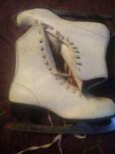 Vintage ladies white leather figure ice skates Imperial blades sz. 7 Japan Sss