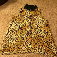 Ladies Six Degrees leopard fabric sheer blouse size Large