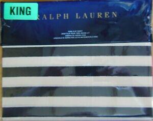 NEW Ralph Lauren KING Navy & Cream DURANT CAMRON STRIPE Flat Sheet MSRP $145.00