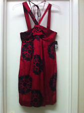 MARC By MARC JACOBS Red Satiny Floral NIX Dress Sz 6 NWT NWD FLAW