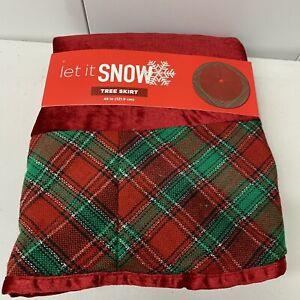 """Christmas Tree Skirt Red Velvet & Plaid 48"""" New"""