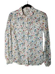 FAT FACE Shirt Size 6 Long Sleeved Reindeer Floral Cotton Blouse Top