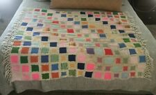 """Vintage Afghan Quilted with Yarn (Cotton Blend) and Wool Squares 64 W x 49.75 T"""""""