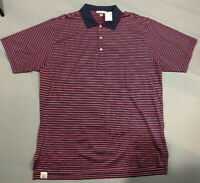 NEW Peter Millar Mens Polo Sz XL Blue Red Striped Crown NWT Extra Large XLarge