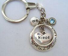 Niece I Love U 2 the Moon and Back Keychain w-Birthstone Crystal & Letter Charm