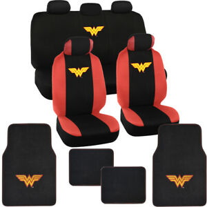 Wonder Woman Seat Covers & Carpet Floor Mats for Car SUV Truck Full Set