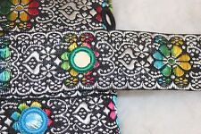 1 yard Black White rainbow Indian Sequin Sari Ribbon Jacquard Mirror trim 1.25""