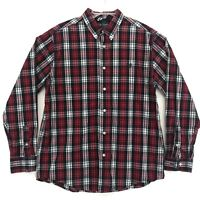 CHAPS Custom Fit Shirt Mens Size L Large Red Plaid Long Sleeve Button Up