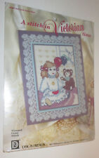 Doll With Teddy Bear Stamped Cross Stitch Kit Victorian Time New Old Stock Spot