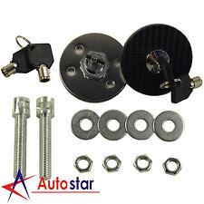 1 Pair Universal Racing Carbon Fiber Mount Bonnet Hood Latch Pin Key Locking Kit