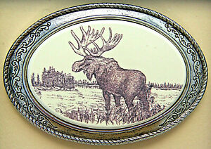 Moose Belt Buckle Barlow Photo Reproduction Moose Western Sliver 592609 n NEW