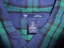 GAP 100% Cotton Button Down TARTAN PLAID Men's Shirt  Deep Blue Deep Green