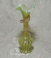 Victorian Uranium Vaseline Blown Glass Vase with Pink Applications c1890's