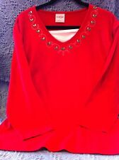 NOS CRACKER BARREL RED LONG SLEEVE KNIT SHIRT W/EMBROIDERY & JEWELS SIZE 3XL