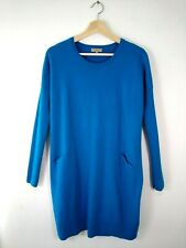 Hobbs Wool Dress Size 10 Turquoise Blue Long Sleeve Knitted Tunic Jumper