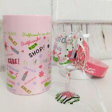 Lolita Wine Glass Christmas Ornament Mini Girlfriends Rule Pink Round Gift Box