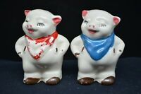 "Pair of Vtg Shawnee Pottery ""SMILEY"" Salt & Pepper Shakers-Red & Blue Kerchiefs"