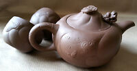 CHINESE BROWN Red CLAY YIXING TEAPOT 2 cups Set MOVABLE DRAGON HEAD