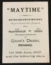 "1937 Malaya Penang Queen's Theatre movie flyer actor Nelson Eddy - ""Maytime"""
