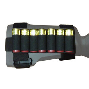 7 Round Tactical Shotgun Stock Shell Holder Ammo Carrier Hunting Pouch Strip