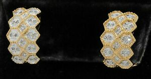 14K gold beautiful .48CTW diamond cluster honeycomb curved clip-on earrings