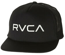NEW + TAG RVCA MENS BOYS TRUCKER FLAT PEAK RIM CAP HAT ONE SIZE SNAPBACK BLACK