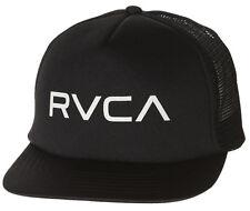 NEW + TAG RVCA MENS BOYS TRUCKER FLAT PEAK RIM CAP HAT ONE SIZE SNAPBACK BLACK