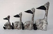 Set of 4 Lazy Sitting Ducks Hand Made Wooden Duck Family White & Black
