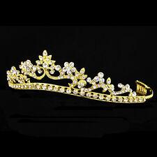 Gold Floral Bridal Headpiece Rhinestone Crystal Prom Wedding Tiara V921