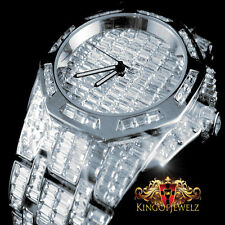 NEW WHITE GOLD FINISH MENS ICED OUT LAB DIAMOND BLING MASTER CUSTOM SWISS WATCH