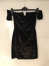 Pretty Little Thing Black Velvet Bardot Plunge Dress