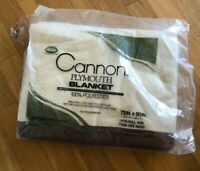 Vintage Cannon Plymouth Blanket Full Twin Size 72 x 90 LOCK - NAP Satin Edge NEW