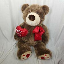 "Jumbo Love You Heart Brown Teddy Bear Stuffed Animal Plush Toy Wal-Mart HUGE 40"""