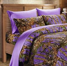 THE WOODS PURPLE  CAMO  6 PC SHEET SET KING CAMOUFLAGE