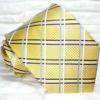 Necktie plaid & checks silk gold Made in Italy Jacquard wedding / business ties