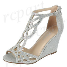 82e10ba0b90 New women s shoes evening rhinestones buckle zip high heel wedding prom  silver