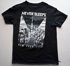 NEW YORK CITY, BIG APPLE, MANHATTEN, NEVER SLEEPS T Shirt Black M Cotton Mens