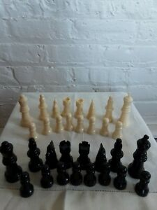 Set Of 32 Plastic Weighted Chess Pieces Game Parts Replacement Black Ivory