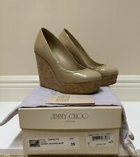 Jimmy Choo Nude Patent Leather and Cork Platform  Wedges 35