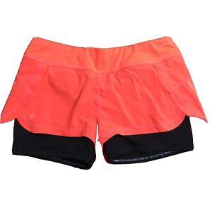 Athleta L Ready Set 2 in 1 Shorts  Size M 438873 Peach Black